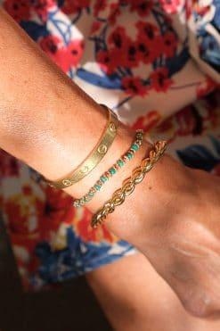 kamala bracelet beige turquoise tityaravy wish paris jewellery