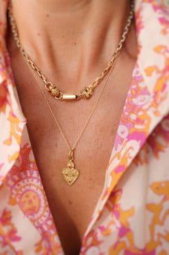 anahata necklace pendant heart gold garnet dorothee sausset wish paris jewellery