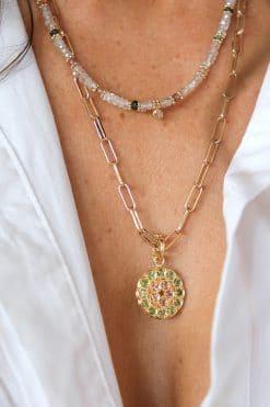 charm mandala pendant gemstone pink tourmaline tsavorite dorothee sausset wish paris jewellery