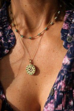 mandala necklace pendant gemstone sapphire tsavorite dorothee sausset wish paris jewellery