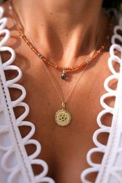 mandala necklace pendant gemstone ethiopian opal tsavorite dorothee sausset wish paris jewellery