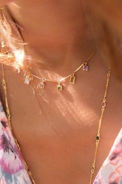 necklace summer five elements amethyst pink tourmaline peridot dorothee sausset wish paris jewellery