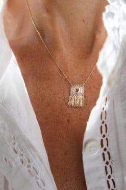 single charm polki necklace pendant gold marie laure chamorel (mls661 gold) wish paris jewellery