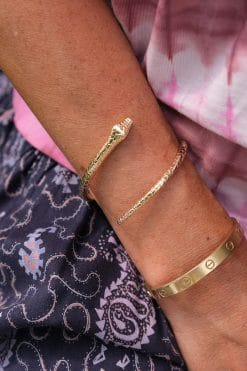 theo snake gold plated cuff bangle luj paris wish paris jewellery